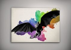 Toothless  How To Train Your Dragon Watercolor Print Poster 11.70 x 16.50 A3 No447 by EpicShoppe on Etsy