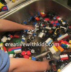 Lego sensory idea - a great idea. I shudder to think how dirty our Lego's are at school.