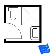 6ft x 6ft standard small bathroom floor plan with shower.