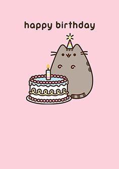 Pusheen the Cat - Birthday Cake Card Pusheen Happy Birthday, Birthday Cartoon, Birthday Cake For Cat, Birthday Cake Card, Happy Birthday Greeting Card, Birthday Wishes, Chat Pusheen, Pusheen Love, Pusheen Stuff