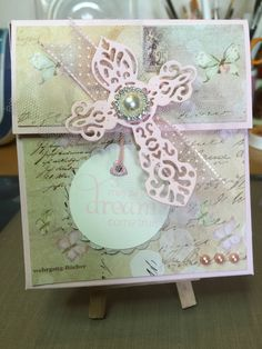 Konfirmation - Pige / Girl / Flicka / Jente   Inspiration hentet i: Ett Trykk nr 2/ 2015 Spellbinders: Crosses4, Stampin Up ink: pink pirouette. Stamps: Penny Black - Sweet Whishes. Jewels: The Hobby House, Paper: Stampin Up: Pink Pirouette and Very Vanilla. Designerpaper: Prima: Jodie Lee - Butterfly. Embossing folder: Darice - Crosses