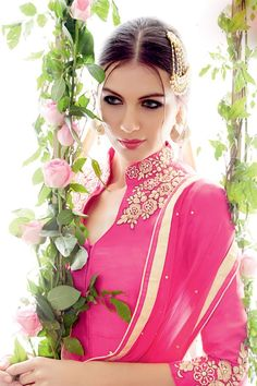 Heer vol 4 Women Wedding Wear Salwar kameez Latest Salwar Suits, Latest Salwar Kameez, Pink Love, Bright Pink, Simple Sarees, Lehenga Designs, Churidar, Embroidered Silk, Saree Collection