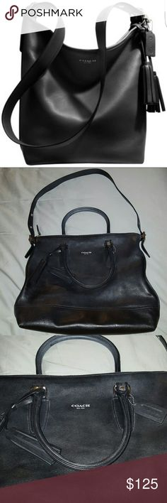 """COACH LEGACY DUFFLE HANDBAG 100% authentic Coach black leather legacy duffle handbag. Used once, shows very little signs of wear, inside stain, can easily be removed. Handbag is very spacious, durable and hold pretty much anything. Measurements are 12""""W x 14""""H x 7 ?""""D. (Interior capacity: large.) 13"""" - 18 ?"""" shoulder strap drop. Handbag does come with dust bag. Coach Bags Satchels"""