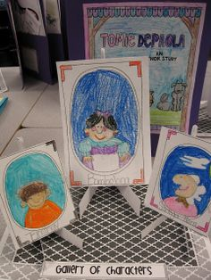 "Gallery of characters for a Tomie dePaola author study. and The Art Lesson. Students draw portraits of important characters then write character traits on the back of their ""canvases"". 