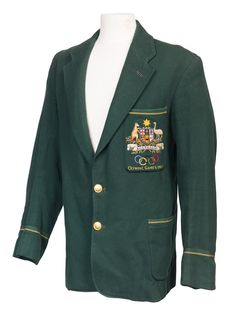 1952 HELSINKI OLYMPICS: Australian Blazer, green wool with embroidered…