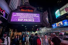 A view of the Prince tribute at Times Square Hard Rock Cafe on April 21, 2016 in New York, New York. Prince died earlier today at his Paisley Park compound at the age of 57.