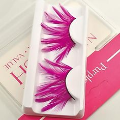 1 Pair Pink 100% Handmade Feather with  Plastic Black Terrier False Eyelashes - USD $ 2.49