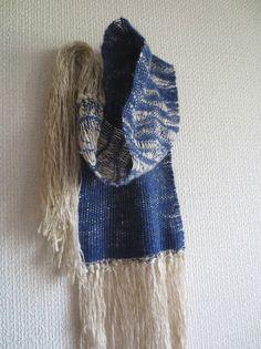 Mujo Hand woven indigo linen and wool scarf -ripple effect www.mujostore.com