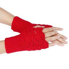 Winter Warm Brief Paragraph Knitting Half Fingerless Gloves Women