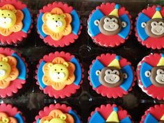 Lions & monkeys circus cupcake toppers!  Http://www.heavenlybitescakes.com