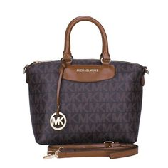 #MK #Trends Michael Kors Logo Monogram Medium Coffee Satchels