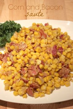Corn and Bacon Saute. Deanna at MommyGaga says: Because seriously, it's yummy and gives so much flavor. hmmmm for all that corn in the freezer. Side Dish Recipes, Vegetable Recipes, Dinner Recipes, Veggie Side Dishes, Vegetable Dishes, Bacon Dishes, Thanksgiving Recipes, Thanksgiving Turkey, Soul Food