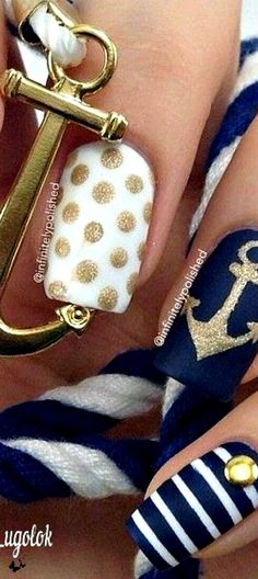 An array of various nail designs that can be worn for cruises, yacht parties/dinners, beach trips, vacations, a different design for each day.