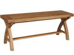 120cm Indoor Dining Bench - Country Oak Cross Leg