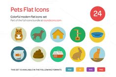 Pets Flat Icons Set by roundicons.com on @creativemarket