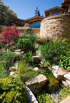 Stream Landscape Design Ideas, Pictures, Remodel and Decor Front Yard Landscaping Pictures, Landscaping With Rocks, Garden Landscaping, Backyard Stream, Outdoor Rooms, Outdoor Decor, Cool Landscapes, Landscape Lighting, Landscape Design