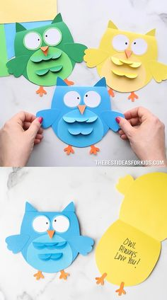 Owl Craft - create this adorable owl card! Free printable template on the post.
