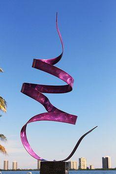Outdoor Garden Metal Sculpture, Landscape Architecture Purple Twist / By Jon Allen