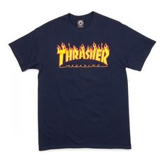 Thrasher Flame T-Shirt - Black ($23) ❤ liked on Polyvore featuring tops and t-shirts
