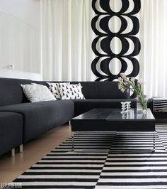 BUY - Marimekko fabric -Kaivo-Design Maija Isola-Maija Isola got the idea for the Kaivo fabric at a well. She dropped the pail in by accident and was mesmerised by the living rings that formed on the surface of the water. Marimekko, Scandinavian Style Home, Home And Living, Living Room, Inside A House, Interior Decorating, Interior Design, White Houses, Little Houses