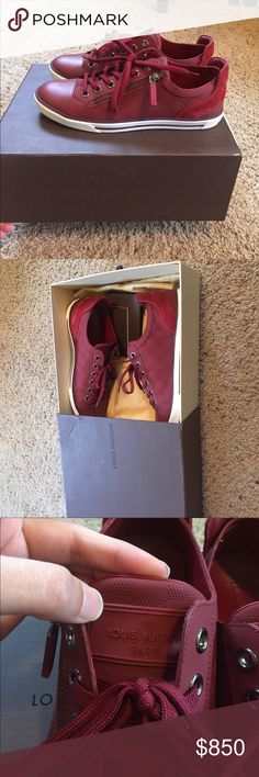 Men's Louis Vuitton sneakers 100% authentic, Maroon colored. With checkered print. perfect condition sneakers. Worn once. Date code is under tounge in last pic. These are men's shoes! Please know your size in LV they run different! Tag says 6 1/2. My bf is a 9 in men's nike/Jordan shoes and these fit him. No trades! Low offers will be ignored! Sorry if u can't afford it don't bother.. Louis Vuitton Shoes Sneakers