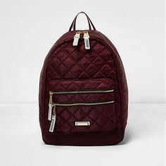 Dark red quilted backpack �20.00