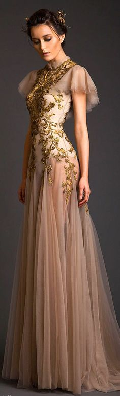 "Krikor Jabotian Couture S/S 2014 LBV  (^.^) Thanks, Pinterest Pinners, for stopping by, viewing, re-pinning,  following my boards.  Have a beautiful day! ^..^ and ""Feel free to share on Pinterest ^..^ #fashion   #fashionupdates"