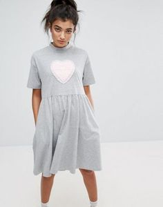 Buy Lazy Oaf No Thanks T-Shirt Dress at ASOS. With free delivery and return options (Ts&Cs apply), online shopping has never been so easy. Get the latest trends with ASOS now. Style Casual, Casual Outfits, Fashion Outfits, Overall Dress, Embroidery Dress, Lovely Dresses, Gray Dress, Diy Clothes, Cotton Dresses