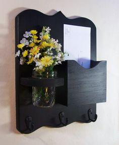Mail Organizer - Mail and Key Holder - Letter Holder - Key Hooks - Jar Vase - Organizer. via Etsy.