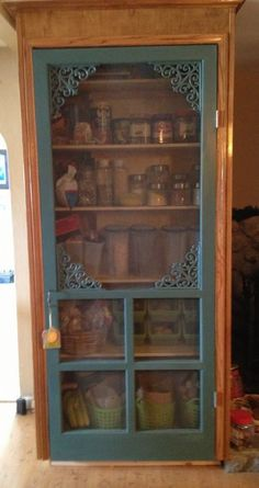 Old screen door turned pantry! This is what I wanted to do with my old screen door but it doesn't fit the door space. Old screen door turned pantry! This is what I wanted to do with my old screen door but it doesn't fit the door space. Old Screen Doors, Diy Screen Door, Old Doors, Screen Door Pantry, Vintage Screen Doors, Pantry Doors, Screen Door Decorations, Screen Door Closer, Rustic Pantry Door