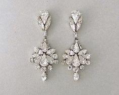 Vintage-Glam earrings - Swarovski crystal chandlier earrings with 1920's flare.