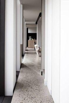 2019 interior design trends - Terrazzo- concrete and marble chip flooring through a contemporary hallway in a home. Interior Design Trends, Modern Interior, Interior Architecture, French Interior, Terrazo Flooring, Timber Flooring, Contemporary Hallway, Contemporary Houses, Polished Concrete Flooring