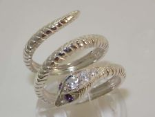 Solid 925 Sterling Silver Amethyst & Diamond Snake Band Wrap Ring