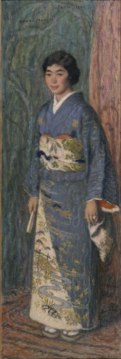 In this painting, Aman-Jean,  a painter of Inpressionism, shows that he admired the aethtetic of Kimono and had a keen eyes to the structure and matelials. The model is Takeko Kuroki, a  niece of Kojiro Matsukata, a famouse collector of Western Art.   A portrait of a Japanese Woman (Mrs. Kuroki) by  Edmond-Francois Aman-Jean 1922. Matsukata Collection