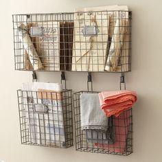 Gracie Oaks Omro x x Wire Basket Wall Organizer Wire Baskets, Baskets On Wall, Storage Baskets, Storage Spaces, Wall Basket, Mail Organizer Wall, Wall Organization, Organizing Ideas, Mail Storage