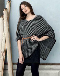 Poncho i skyggestrik Poncho Knitting Patterns, Knitting Kits, Knitted Poncho, Knitted Shawls, Knit Patterns, Free Knitting, Shawl Cardigan, Knit Picks, Alter