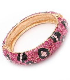 Amazon.com: PINK!! Leopard/Fuscia Pave Crystal & Rhinestone Hinged Metal Bangle by Jersey Bling: Jewelry
