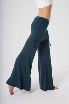 Wide Leg Pant with Mini SkirtPants - The OM Collection Wide Leg Yoga Pants, Yoga Pants Outfit, Yoga Outfits, Dance Pants, Flowy Pants, High Rise Pants, Haute Hippie, Stretch Denim, Bell Bottoms