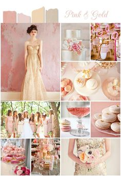 very pretty & chic  pink and gold, perfect color combo for vintage inspired wedding theme
