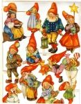Vintage Sheet of Die-cut Scrap Santas Sweden made, by artist Wallen good condition,size is 9 by 11 inches,lite bend on  lower left