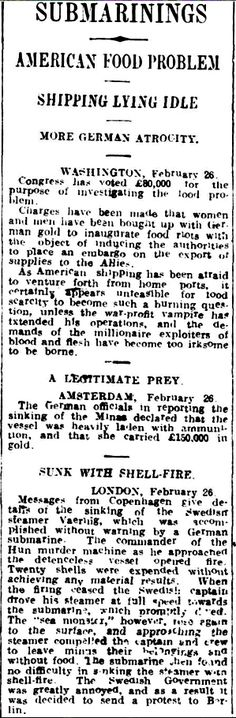 """WWI, 27 Feb 1917; """"US-People bought up with German gold to inaugurate food riots""""- Daily Herald, Adelaide"""