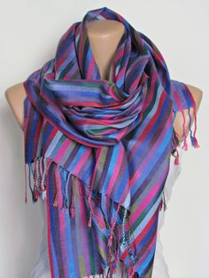 Colorful Striped Pashmina Scarf Oversize Scarf Fall Winter Scarf Large Scarf Women Fashion Accessories Holiday Christmas Gift Ideas For Her