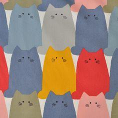 Kokka - Kobayashi - Quiet Cats -   The Fabric Stash