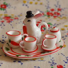 adorable...where from?...rabbit miniature tea set