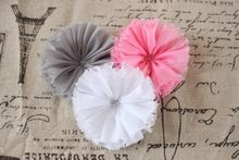 Baby girl hair flower vintage chiffon shabby look flower flat back 18 colors(China (Mainland))