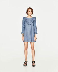 ZARA - WOMAN - FRILLED DENIM DRESS