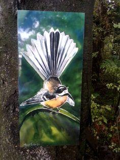 OUTDOOR Wall ART, New Zealand FANTAIL Bird, from my original silk painting, Outside Garden Art,  native bird, Handmade, small & large by KaySatherleyArt on Etsy Outdoor Wall Art, Outdoor Walls, Outdoor Living, Bird Paintings, Bird Artwork, Kiwiana, Silk Painting, Garden Art, New Art