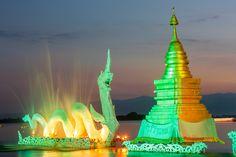 Illuminated Naka on the picturesque Phayao lake in northern Thailand