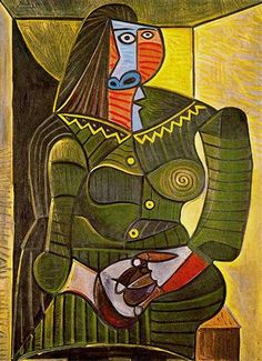 Woman in green - Pablo Picasso just saw this at the MFA Boston, stunning!