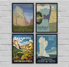"""National Park Poster Set - Vintage Prints - Vintage Set of 4 - Zion National, Fort Marion, Yosemite National, Yellowstone 162,165,166,167 by STANLEYprintHOUSE  48.00 USD  National Park Poster Set - Vintage Prints - Vintage Set of 4 - Zion National, Fort Marion, Yosemite National, Yellowstone 162,165,166,167  This set is available as Prints or Canvas.  ****Prints available in various sizes from 8""""x10"""" - 11""""14""""**** ****Canvas available in various sizes ..  https://www.etsy.com/ca/lis.."""